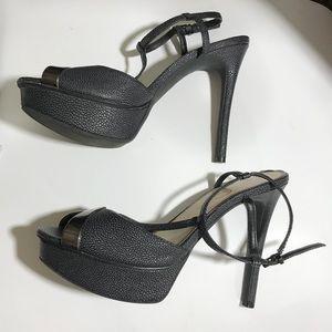 Jessica Simpson Ankle Strap Black Pebble Heels